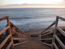 Ocean Stairs. A long stairway above the southern California Coast Stock Images