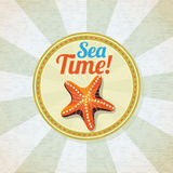 Ocean starfish on the sand retro background Royalty Free Stock Photo