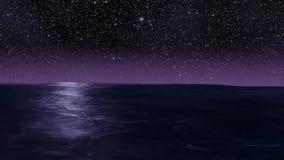 Ocean and stars infinite loop - beautiful misty purple and blue ocean