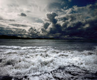 Ocean storm. Background ocean storm with waves and clouds Royalty Free Stock Photos