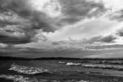 Ocean Storm. Ocean and Storm clouds. B/W image Royalty Free Stock Photos