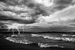 Ocean Storm And Flash Lighting Stock Images