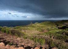Ocean and stormy clouds. Beautiful stormy clouds above. Grass field. Maui Hawaii Stock Photos