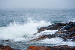 Ocean on Stormy Day on Rocky Coast of Maine Stock Photo