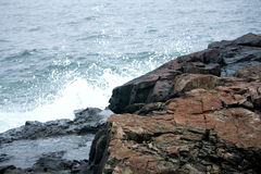 Ocean on Stormy Day on Rocky Coast of Maine Royalty Free Stock Photo