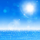 Ocean Sun Blurry Lights. Ocean fresh nature bright blue background with sun and blurry lights stock illustration