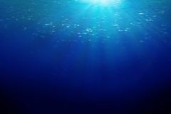 Ocean sunbeems. Underwater sun rays is perfect background Royalty Free Stock Photo