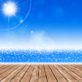 Ocean Sunny View from Wood Terrasse Royalty Free Stock Photography