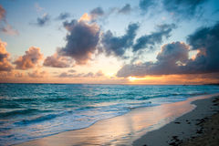 Ocean sunrise. Beautiful sunrise at one of the beaches in Punta Cana - Dominican Republic stock photography