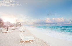 Ocean sunrise. Heavenly sunrise at one of the beaches in Punta Cana - Dominican Republic stock image
