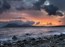 Ocean sunrise. On beautiful beach Royalty Free Stock Image