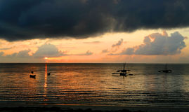 Ocean Sunrise. A morning sky over the indean ocean of the coast of kenya stock photo