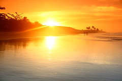 Ocean sunrise. Landscape ocean sunrice golden sky Royalty Free Stock Photo