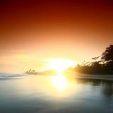 Ocean sunrise. Landscape ocean sunrise golden sky Stock Image