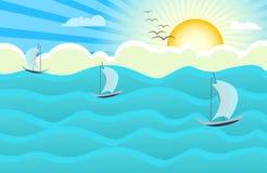 Ocean sunrise background. Illustration Royalty Free Stock Image
