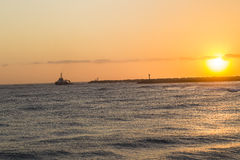Ocean Sunrise Ship Harbor Royalty Free Stock Photography