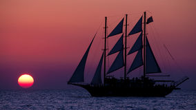 Ocean Sunset. Sunset colors over the ocean sea sail boat Royalty Free Stock Photography