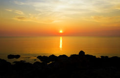 Ocean on sunset. Royalty Free Stock Photo