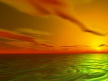 Ocean Sunset. Sun sets over a swirling ocean Stock Photography