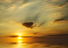Ocean sunset background image. Beautiful landscape of sky and water at Sunset Stock Image