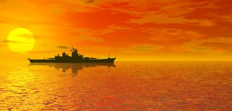 Ocean sunset and battleship. Orange ocean sunset and cloudscape with silhouetted battleship royalty free illustration