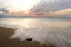 Ocean Sunset Beach Waves Stock Image