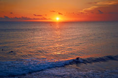 Ocean sunset. Beautiful Indian ocean sunset with surfers silhouette, Bali island, Indonesia Royalty Free Stock Photo