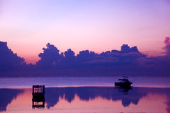 Ocean sunset, boat. Indian Ocean Royalty Free Stock Photography