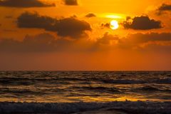 Sunset on Baga beach. Goa Royalty Free Stock Photo