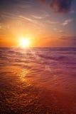 Ocean sunset. Hikkaduwa, Sri Lanka. With light leak and lens flare stock photos