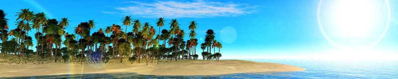 Ocean sunset, island in the sea, panoramic view of sunset in the sea. Palm trees on the island Stock Images