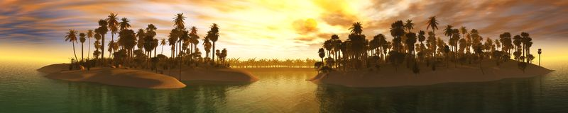 Ocean sunset, island in the sea, panoramic view of sunset in the sea, palm trees on the island. Stock Photo