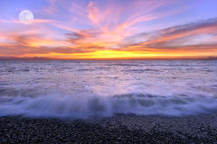 Ocean Sunset Moon Royalty Free Stock Photography