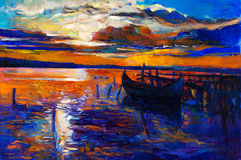 Ocean and sunset. Original oil painting of boats and jetty(pier) on canvas.Sunset over ocean.Modern Impressionism vector illustration