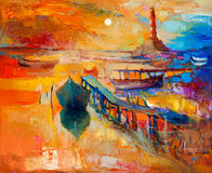 Ocean and sunset. Original oil painting of boats and jetty(pier)and lighthouse on canvas.Sunset over ocean.Modern Impressionism Stock Images