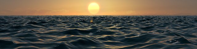 Ocean At Sunset Panorama Illustration Royalty Free Stock Photography