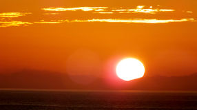 Ocean sunset. Picture of sunshine over carribean ocean Stock Photo