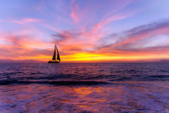 Ocean Sunset Sailboat Silhouette Stock Images