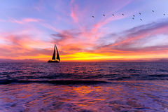 Ocean Sunset Sailboat Silhouette Royalty Free Stock Image