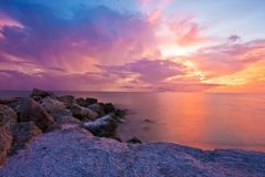 Ocean, Sunset, Sea, Red, Cloud Royalty Free Stock Photo
