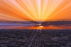Ocean Sunset Sunrays stock image