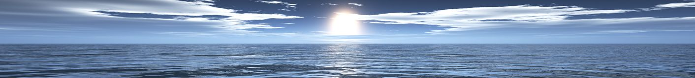 Ocean sunset, sunrise panorama of the sea, the light over the sea Royalty Free Stock Photography