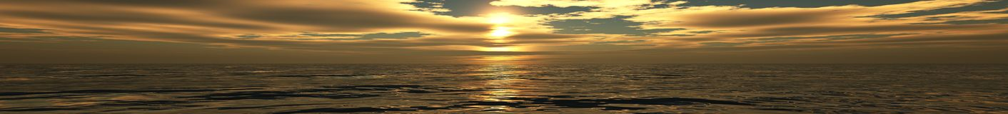 Ocean sunset, sunrise panorama of the sea, the light over the sea Stock Photos