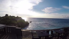 Ocean sunset on a tropical island Nusa Lembongan, Bali, Indonesia. Slow motion. Beautiful sunset island stock video