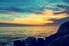 Ocean sunset view Royalty Free Stock Photography