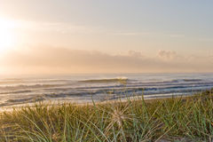 Ocean sunset. View over dunes and coastal grasses of a delicate ocean sunset and tranquil beach with breaking waves Royalty Free Stock Photography