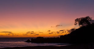 Panoramic Ocean Sunset Stock Image