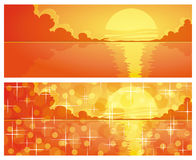 Ocean sunsets. Ocean sunset with blurring lights and sparkles,  illustration Royalty Free Stock Image
