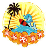 Ocean surf with dolphin. A illustration of Sea and ocean holiday with dolphin Royalty Free Stock Images