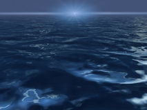 Ocean surface with bright sun. Fantasy alien scene with endless ocean surface with bright sun Royalty Free Stock Image